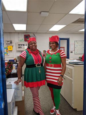 Ms. McLaurin and Ms. Brown on Elf Day