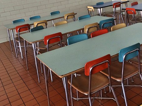 School cafeteria table and chairs