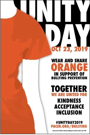 Unity Day. October 23, 2019. Wear and share orange in support of bullying prevention.