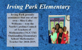 Mrs. Williams wins North Carolina Council of Teachers of Mathematics (NCCTM) Outstanding Elementary