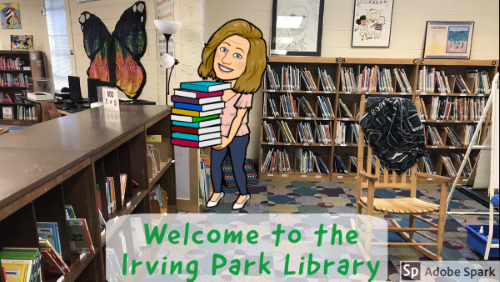 Irving Park library with bitmoji of Ms. Long the librarian