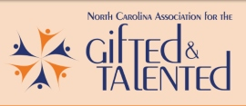 North Carolina Association for the Gifted and Talented logo of orange and blue stylized people