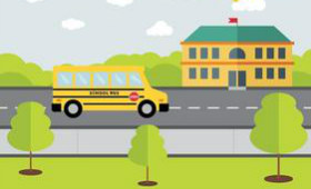 clip art of a bus driving to a school
