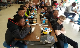5th grade boys at lunch for Boys to Men