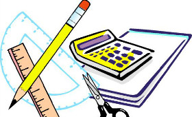 clip art of various school supplies