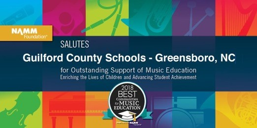 Logo reading that NAMM salutes Guilford County Schools as a 2018 Best