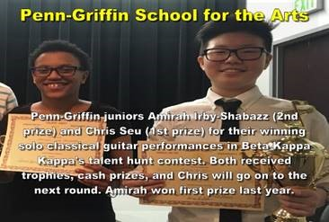 Please congratulate Penn-Griffin 11th graders Amirah Irby-Shabazz (2nd prize) and Chris Seu (1st pri