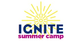 IGNITE summer camp logo with yellow sun and navy blue and magenta text that reads IGNITE summer camp