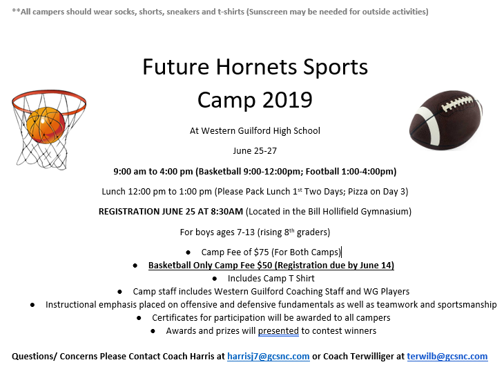 Future Hornets Sports Camp June 25th to 27th