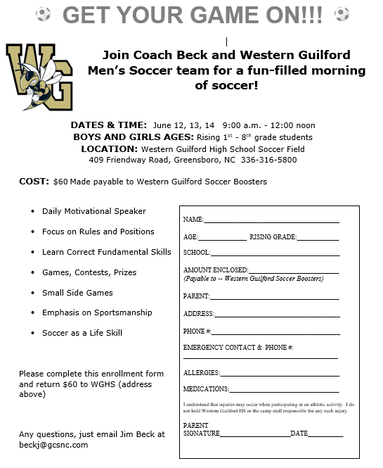 Summer Soccer Camp June 12th to 14th