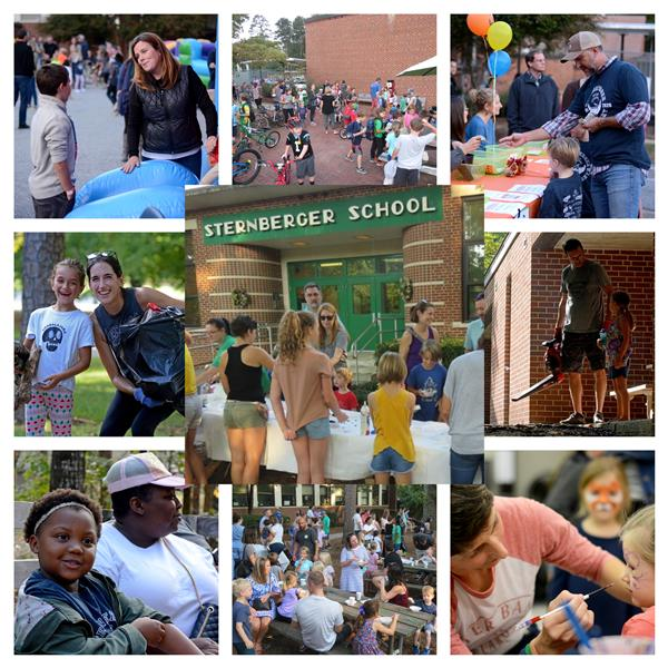 collage of parents involved in different school activities