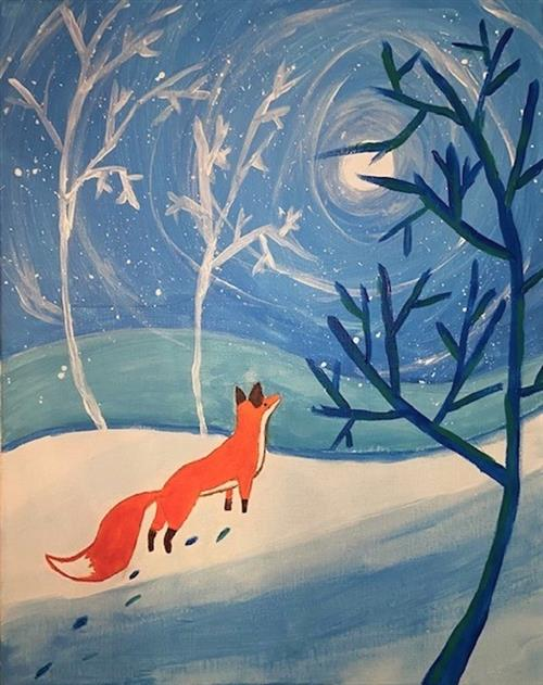 winter card design winner fox in winter scene