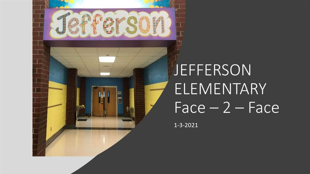 Picture of Jefferson Elementary hallway with link to reopening info