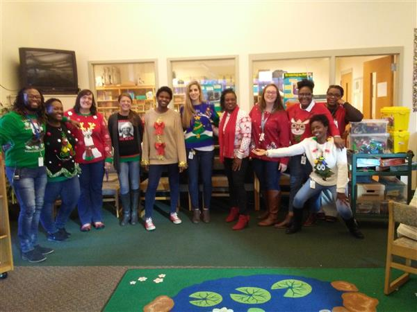 A few of our teachers at TLM celebrating Ugly Sweaters during the Holidays.