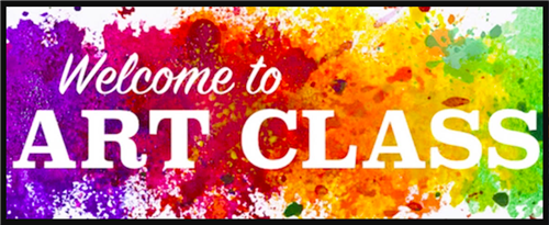 picture that says welcome to art class with paint in rainbow colors behind the words