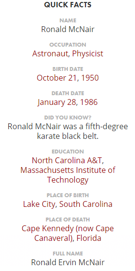 Ronald McNair Facts