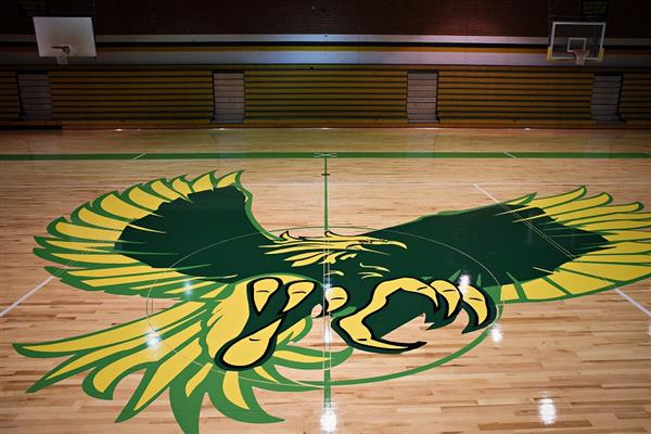 Smith Eagle on the gym floor.