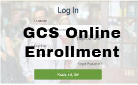 screenshot of  GCS Online Enrollment page which says Log In Ready Set Go