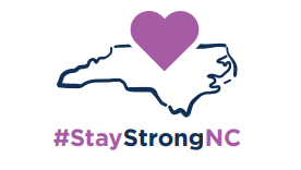 map of North Carolina with purple heart above it with #StayStrongNC