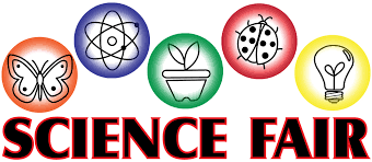 logo with the words science fair and drawings of a butterfly, atom, plant, ladybug and a lightbulb