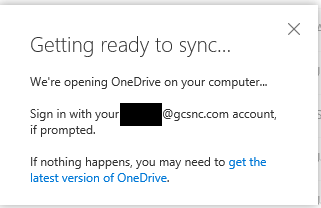 Syncing Pop Up - Opening OneDrive