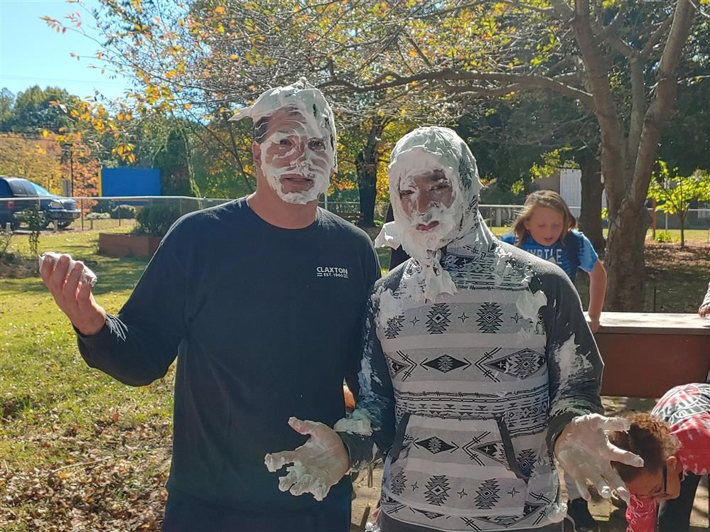 Teachers with pie on their faces