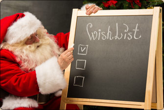 Santa checking the Wish List