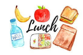 word lunch with pictures around it of different food items; apple, sandwich, milk