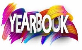 Word Yearbook with a rainbow of colors in background