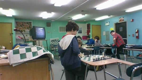 Chess club at work.