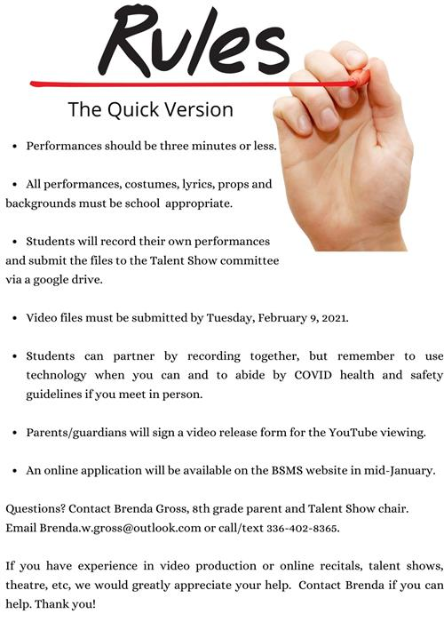 rules for talent show