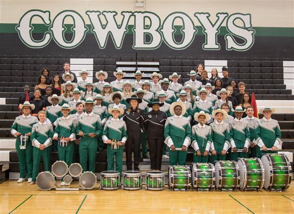 Group photo of the 2017-18 Marching Cowboys
