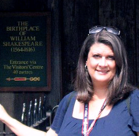 Picture of Mrs. Gaines at Shakespeare's birthplace in Stratford, England