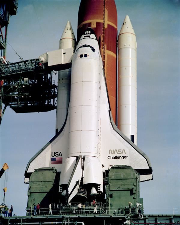 Space Shuttle Challenger on launchpad