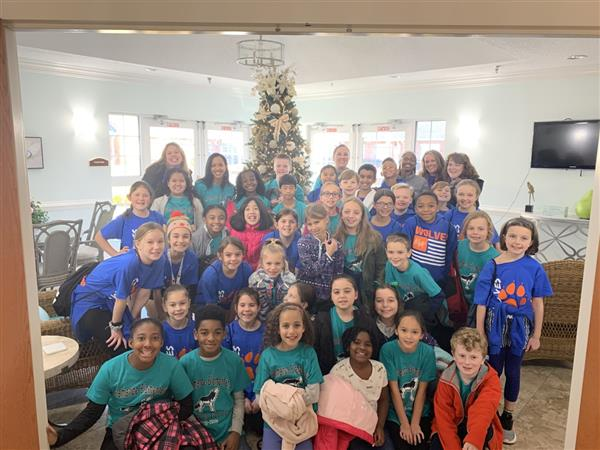Jazzy Jumpers and Student Council Students at Clapp's Nursing Center