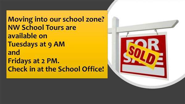 Image of Real Estate Sold Sign with School Tour information