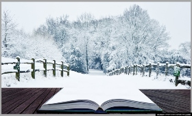 Winter Scene and an open book encouraging reading during the break