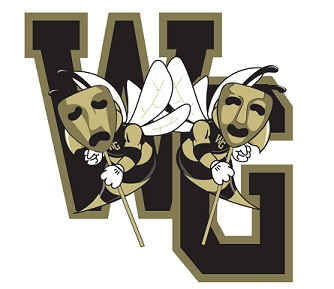 WGHS Theatre Logo: WG hornets wearing drama comedy/tragedy masks