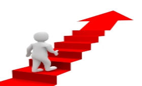 White clay-type figure walking up a red flight of stairs with an arrow at the top