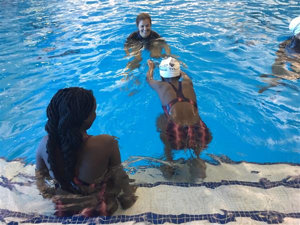Page High Students at Swimming Lessons at Greensboro Aquatic Center