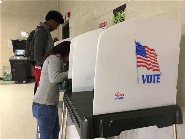Students Voting at Bur Mill Park Clubhouse