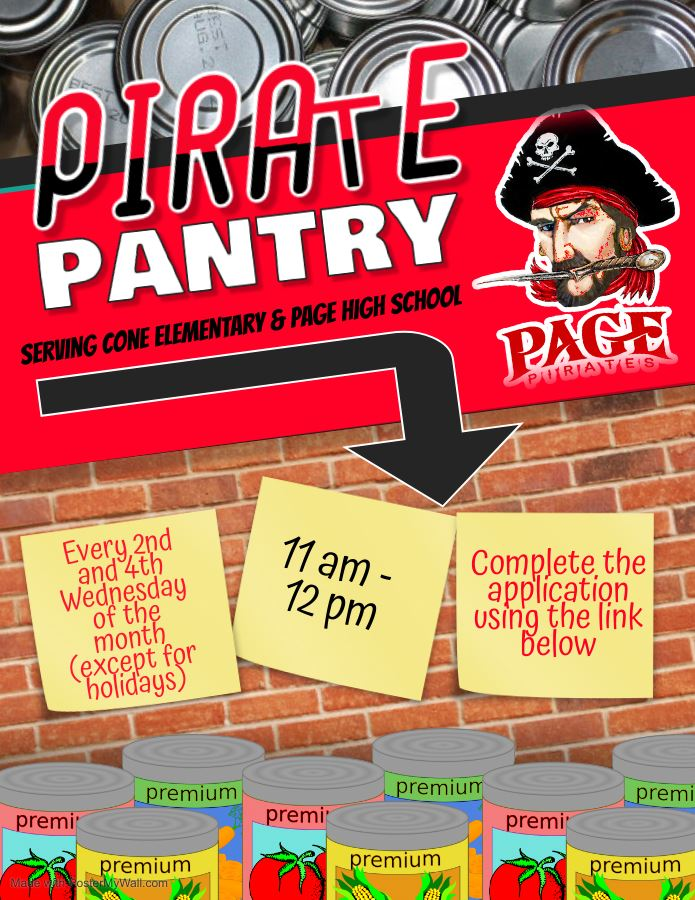 Canned food with details of the Page pantry sign up times