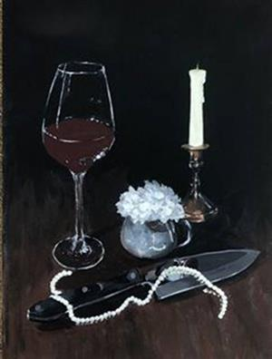 Image of wine glass, candle, knife with strand of pears