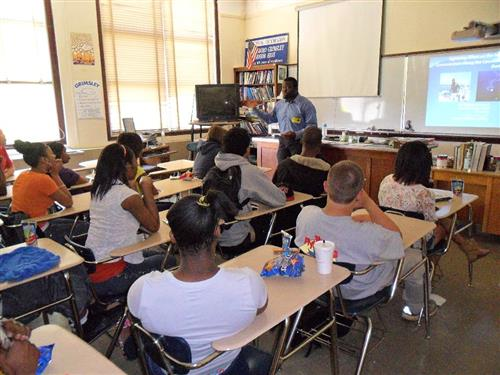 A&T Grad student visits Math 1 class