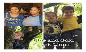 teachers and students wearing school colors blue and gold