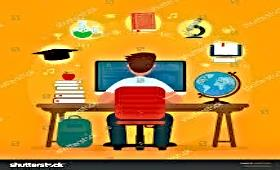 student at desk on the computer