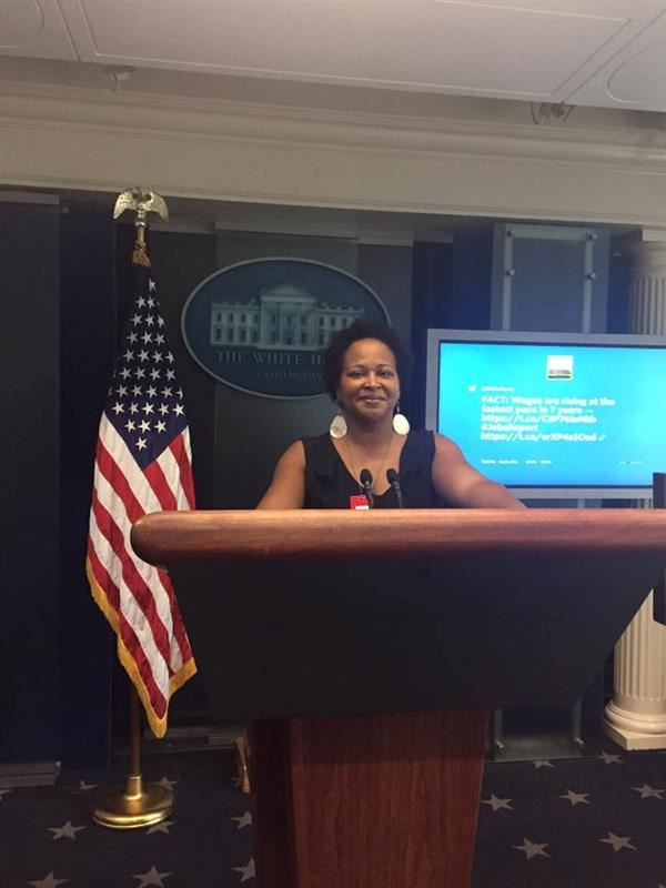 Ms. Simmons in the White House Press Room