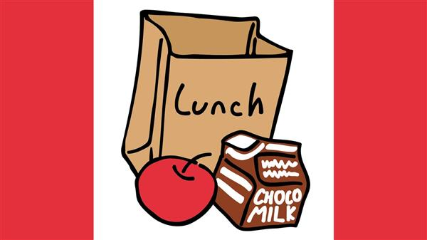 Picture of Lunch bag with apple and drink