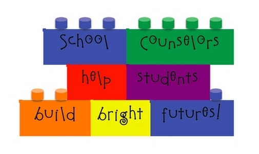 "blocks that read ""school counselors help students build bright futures!"""
