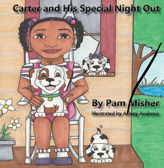 Carter and his special night out with drawing of girl holding dog